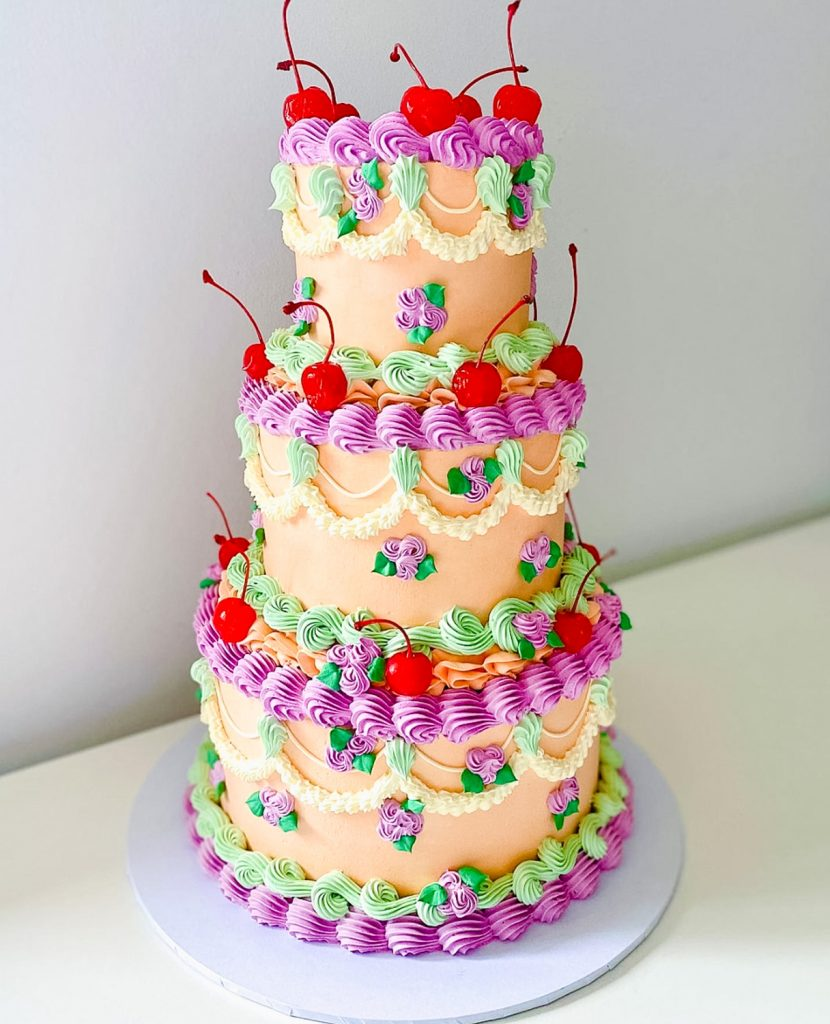 Peachy Old World Tiered Cake