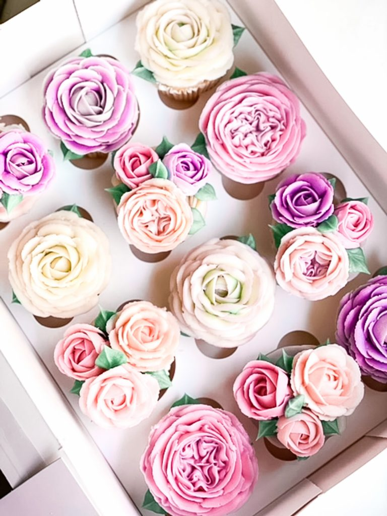Pretty In Pink Roses Cupcakes